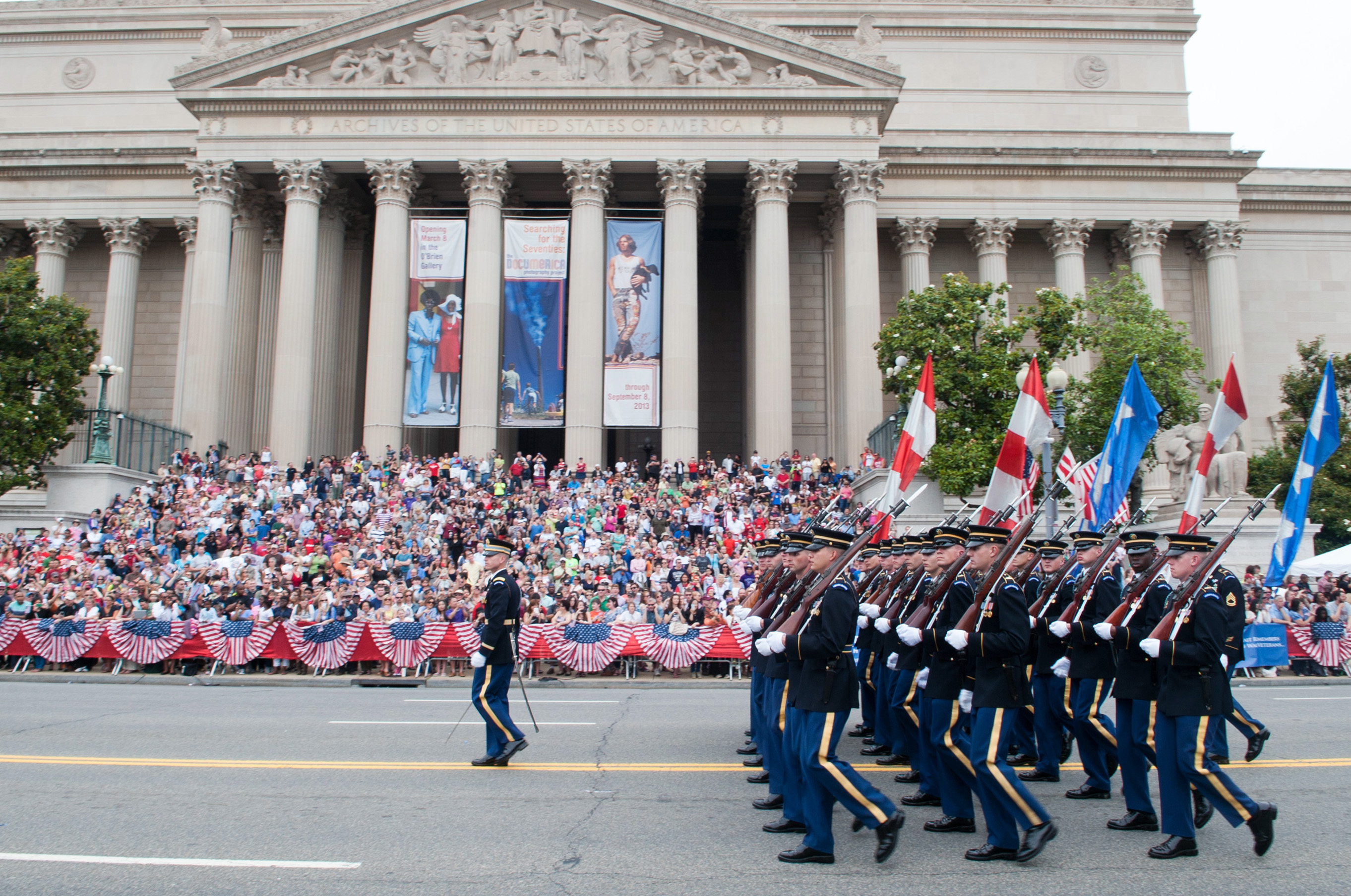 U.S. Army Soldiers marching in the National Memorial Day Parade at the National Archives Building